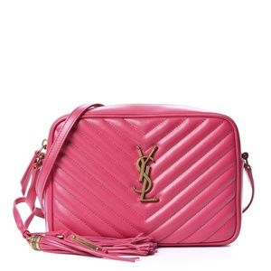 Saint Laurent Camera Lou bag In hot pink quilted